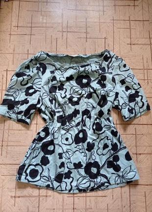Хлопковая блуза с пышными рукавами цветочный принт