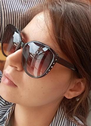 Стильные очки со стразами коричневые очки кошки 3 категория защиты из 4 существующих