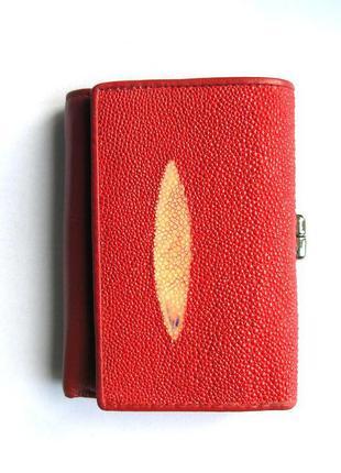 Красный кошелек из кожи ската, 100% натуральная кожа, доставка бесплатно