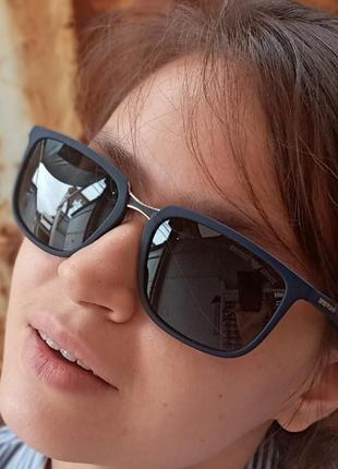 Стильные очки италия прямоугольные очки в синей оправе поляризация антиблик