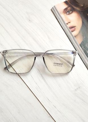 Компьютерные очки, линза с защитой антиблу, серая прозрачная оправа, имиджевые, нулевки