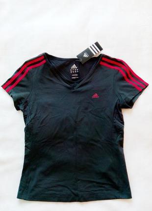 """Спортивная футболка """"adidas"""" с яркими розовыми полосками. l размер. новая!"""