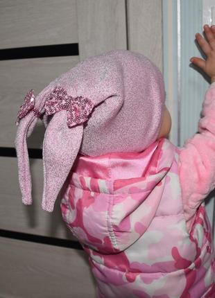 Забавная шапочка с ушками🐰 шапка детская для девочки