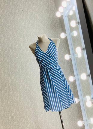 Платье сарафан в полоску с открытыми плечами