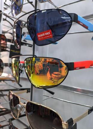 Спортивные зеркальные мужские солнцезащитные очки beach force polarized унисекс окуляри