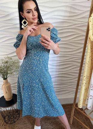 Летнее очаровательное платье из лёгкой ткани цвета морской волны