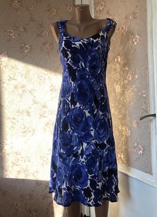 Шикарное платье в цветочный принт натуральный шёлк винтаж
