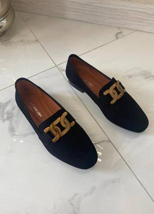 Трендовые чёрные замшевые лоферы туфли 🔥