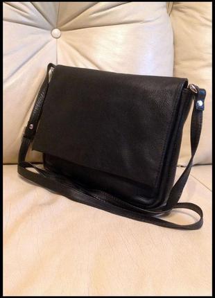 Стильная кожаная сумка почтальон на/через плечо - 100% натуральная кожа