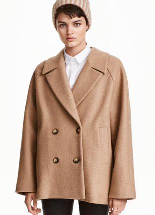 Укороченное шерстяное пальто h&m 34р. premium guality oversize, оверсайз