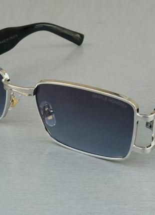 Gentle monster стильные солнцезащитные очки унисекс узкие серо синий градиент в серебристом металле