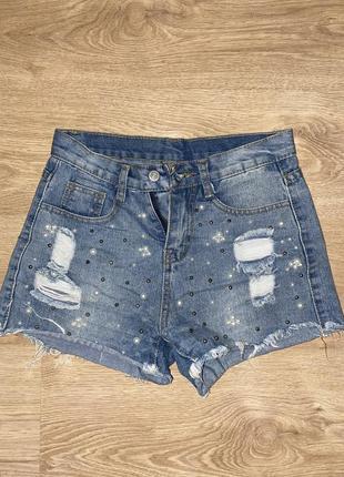 Джинсовые шорты женские с бусинками, очень стильные