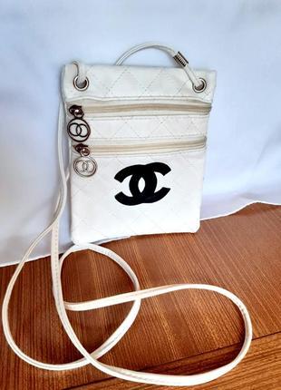 Женская   белая сумочка, кросс боди, кошелек с двумя отделениями на молнии.