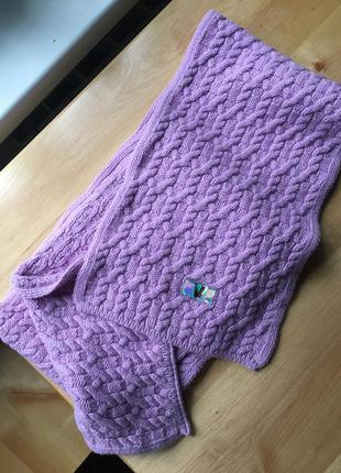 Versace sport шарф вязаный,зимний лавандового цвета