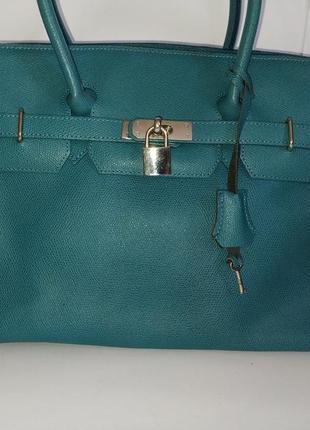 Шикарная кожаная сумка саквояж genuine leather borse in pelle.