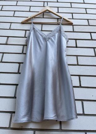Шёлковый серый  пеньюар ночнушка пижама