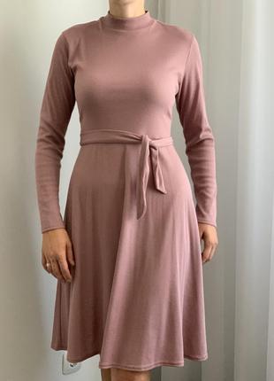 Платье с открытой спиной миди пудровое lost ink сукня пудрово-рожева з відкритою спиною