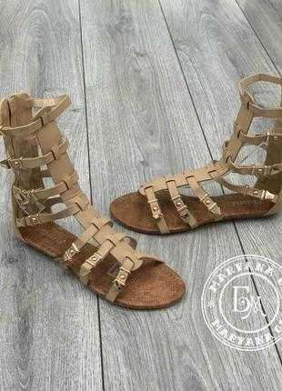 Женские сандалии гладиаторы бежевые