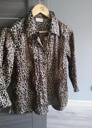Лерпардовая блузка, гофрированная блуза