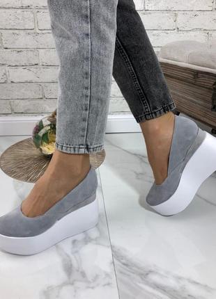 Женские туфли натуральная замша серые