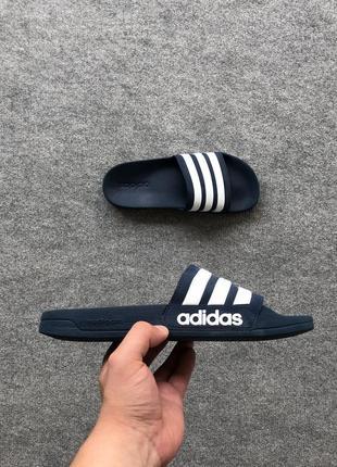 М'які і дуже зручні тапки adidas cloudfoam adilette slides navy/white