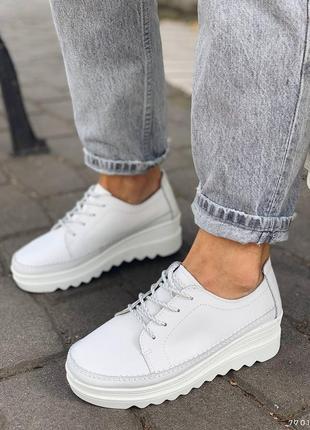 Натуральная кожа, отличные белые женские туфли на шнурочках