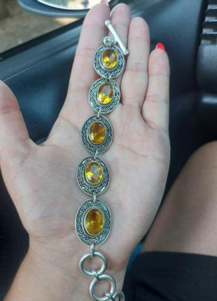Срочно  красивый браслет серебро с камнями, серебряный браслет