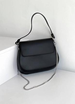 Чёрная сумка кросс-боди на цепочке и ремешке