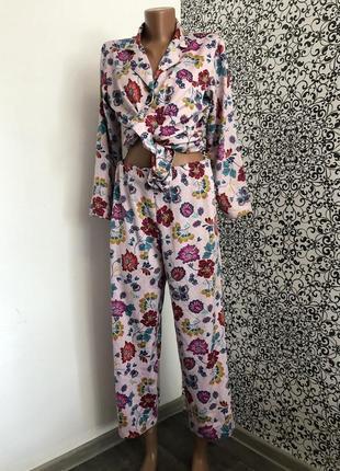 💫женский пижамный костюм с брюками и рубашкой tu