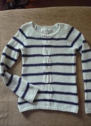 Хлопковый свитер в полоску 122-134