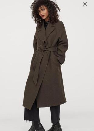 Пальто шерстяное треч коат h&m xl