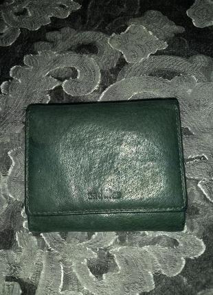 Кожаный кошелёк изумрудного цвета