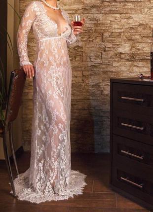 Кружевное платье в пол, цвета белое, черное, пурпурное, синее, голубое