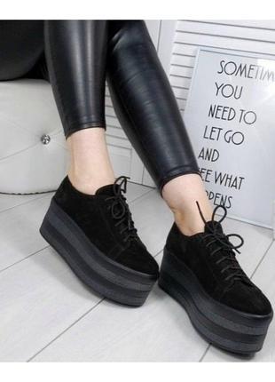 Женские туфли на платформе черные натуральная замша
