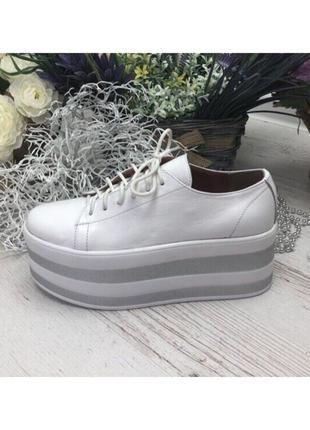 Женские туфли на платформе белые натуральная кожа