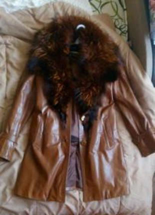 Кожанная куртка пальто