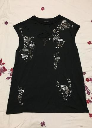 Стильное короткое платье в пайетках и дырках брендовое от zara