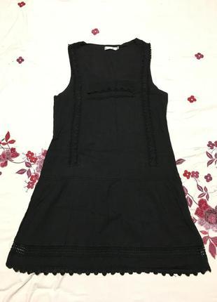 Стильное черное платье в бохо стиле брендовое