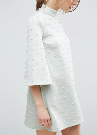 Asos мятное платье с жемчужинками очарование