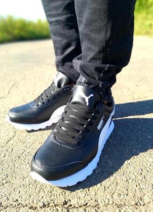 Мужские кроссовки пума чёрные puma roma