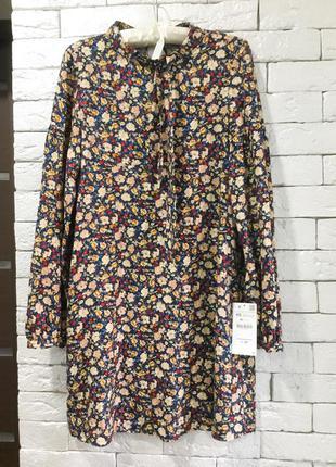 Платье в цветочный принт zara,p.xs-s