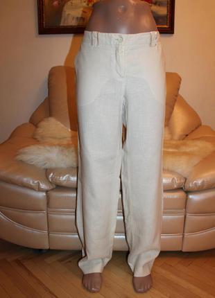 100% лен! шикарные белые брюки из чистого льна в размере м  h&m