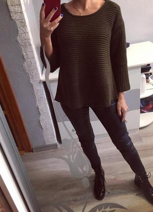 Шикарный брендовый свитер хаки dkny , кофта шерстяная , шерсть
