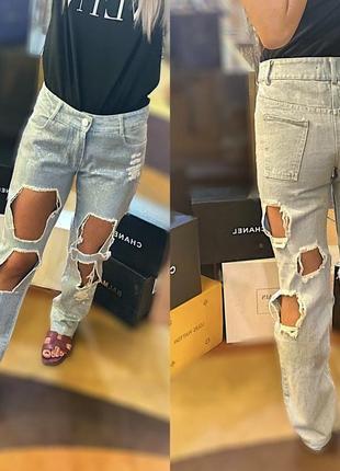 Новые рваные блестящие джинсы с дырками паетки