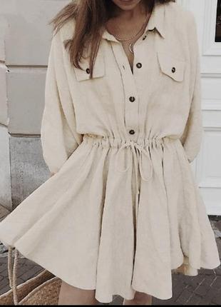 Платье в стиле сафари, жатка