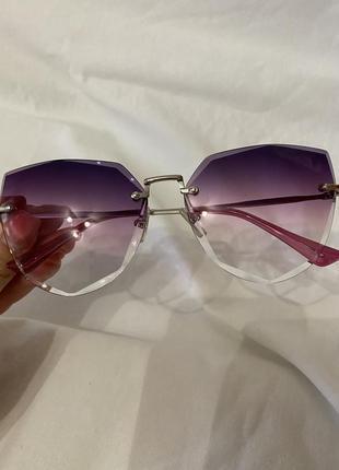 Очки для стиля прозрачные фиолетовые модные не солцезащитные