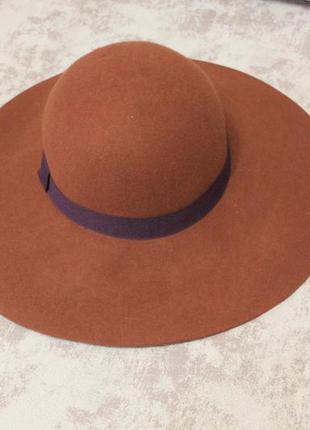 Бордовая широкополая шляпа шерстяная бургунди бордо  шляпка