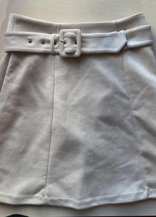 Мягкая юбка бежевая колокольчик