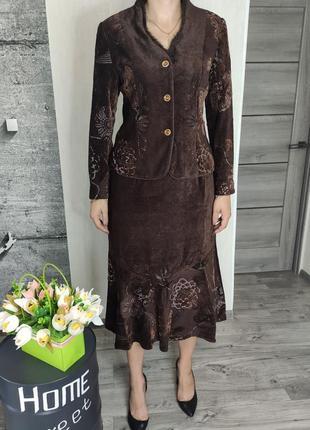 Костюм женский коричневый - юбка и пиджак(2143)
