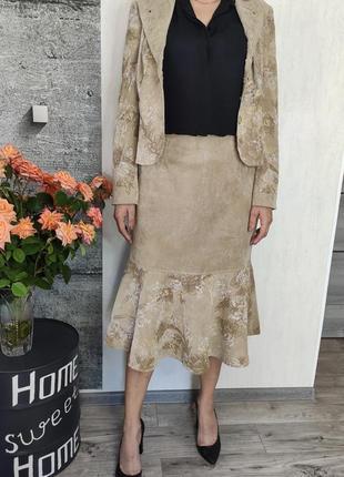 Костюм женский бежевый юбка и пиджак(0429)